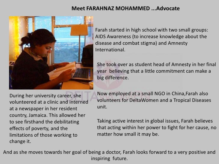 Meet FARAHNAZ MOHAMMED ...Advocate                                         Farah started in high school with two small gro...