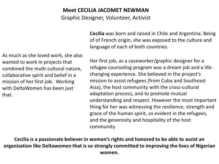 Meet CECILIA JACOMET NEWMAN                          Graphic Designer, Volunteer, Activist                                ...