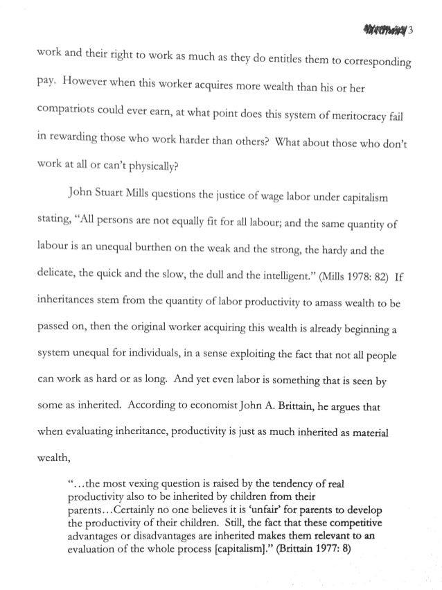 Academic: The Failing Meritocracy of Capitalism: Inheritances Within the U.S (2006) Slide 3