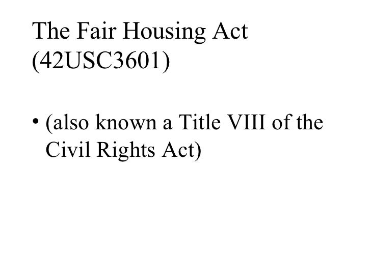 Fair Housing Act Is Also Known As 28 Images Ppt