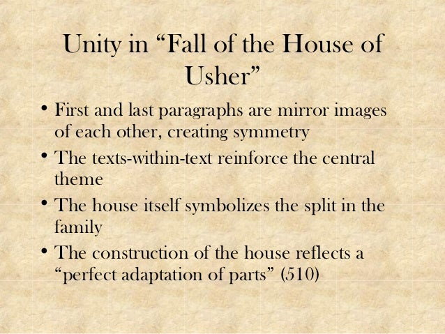 a study on the short story the fall of the house of usher by edgar allan poe The fall of the house of usher introduction edgar allan poe was an american writer in the first half of the 19th century famous for scaring the heck out of his readers he is the master of dismemberment, underground crypts, murder, suffocation, ghosts, the living dead, haunted mansions, blood, and all the other lovely features of your favorite.