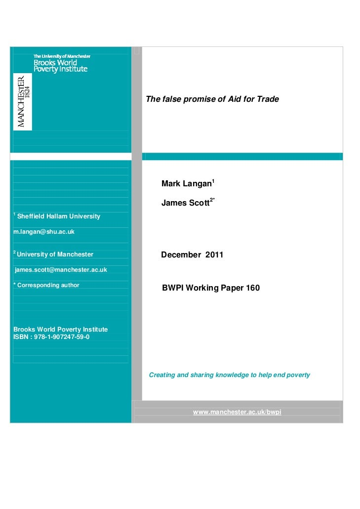 The false promise of Aid for Trade                                      Mark Langan1                                      ...