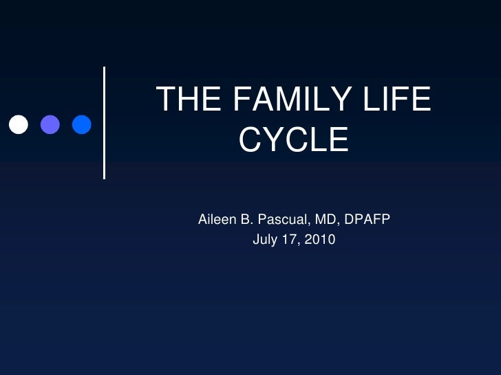 THE FAMILY LIFE CYCLE<br />Aileen B. Pascual, MD, DPAFP<br />July 17, 2010<br />
