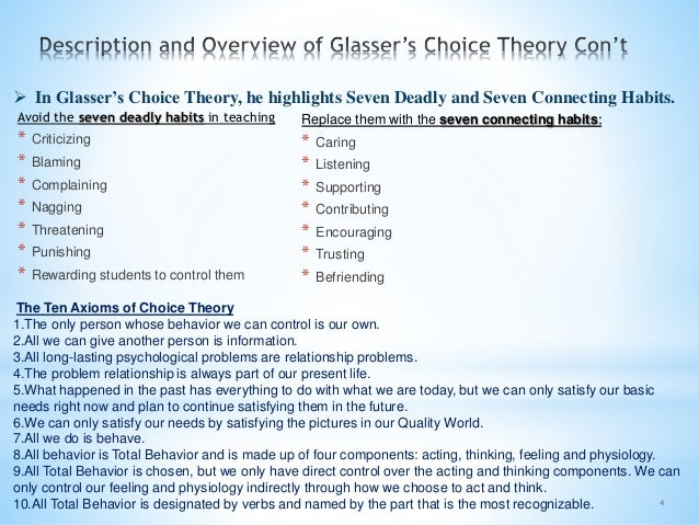 4  In Glasser's Choice Theory, he highlights Seven Deadly and Seven Connecting Habits. The Ten Axioms of Choice Theory 1....