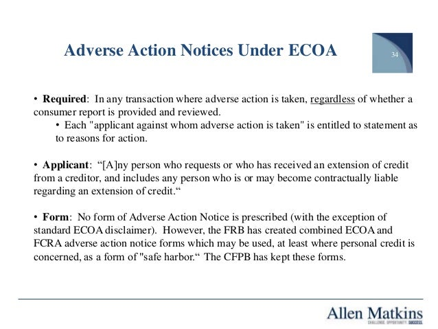 Adverse Action Notice >> The Fcra Ecoa And The Consumer Financial Protection Bureau