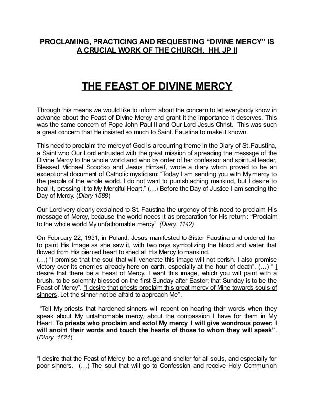 "PROCLAMING, PRACTICING AND REQUESTING ""DIVINE MERCY"" IS A CRUCIAL WORK OF THE CHURCH. HH. JP II THE FEAST OF DIVINE MERCY ..."