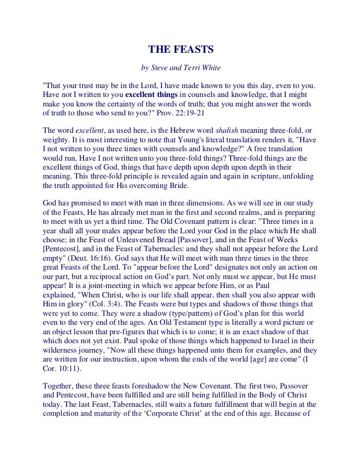 """THE FEASTS                                by Steve and Terri White""""That your trust may be in the Lord, I have made known t..."""