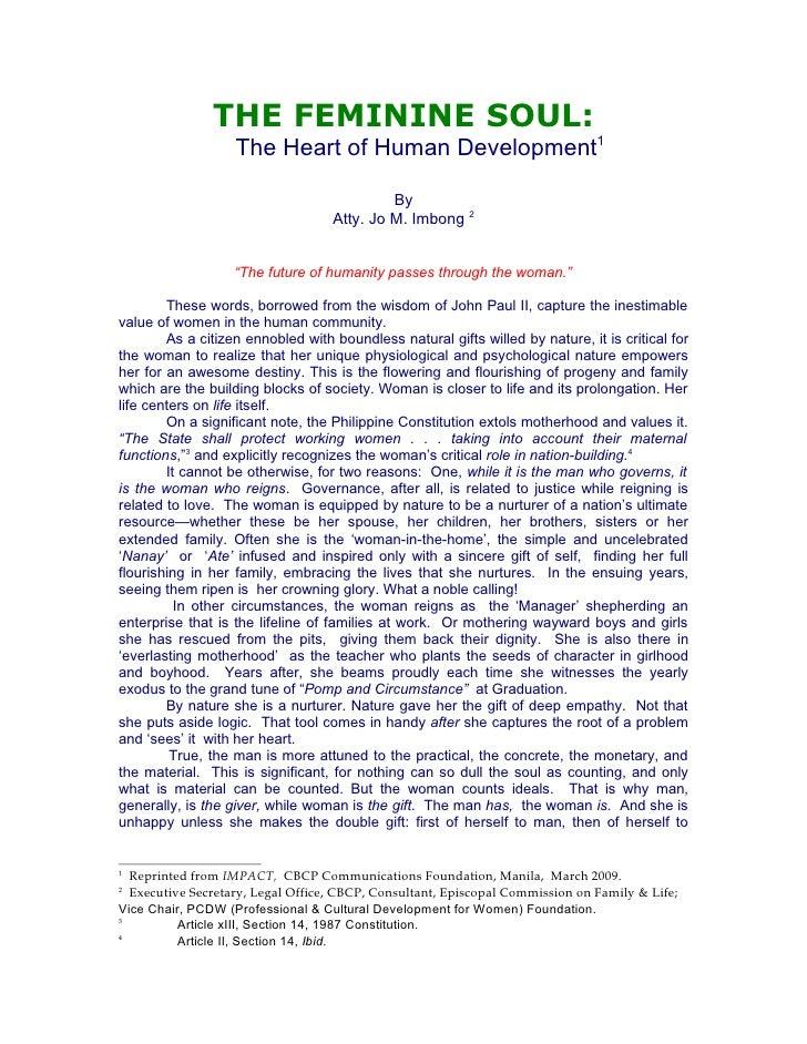 THE FEMININE SOUL:                    The Heart of Human Development1                                              By     ...