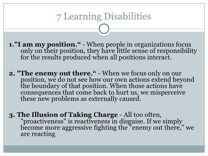 The Seven Learning Disabilities from The Fifth Discipline