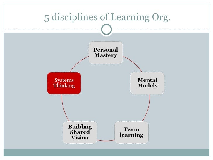 the fifth discipline of a learning organization which integrates or ties together the other four is