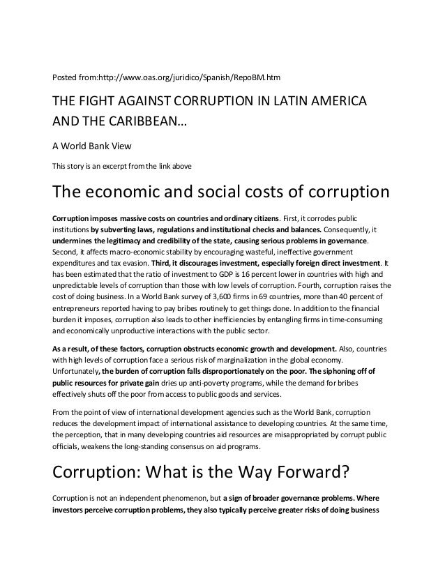 Posted from:http://www.oas.org/juridico/Spanish/RepoBM.htmTHE FIGHT AGAINST CORRUPTION IN LATIN AMERICAAND THE CARIBBEAN…A...