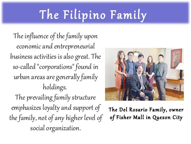 the filipino family Thus, in the filipino family it is imperative that one behaves with respect to the self and the family's sense of hiya, which is a deeply held value that refers to honor, dignity, and propriety (enriquez, 1994.