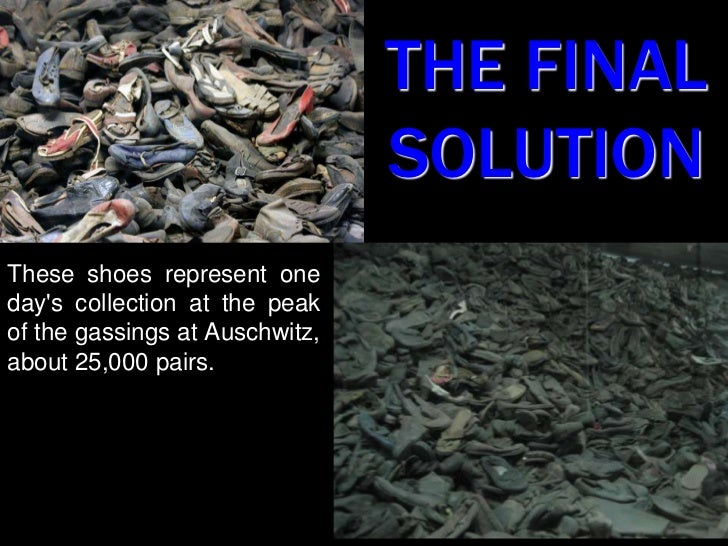 THE FINALSOLUTION<br />These shoes represent one day's collection at the peak of the gassings at Auschwitz, about 25,000 p...