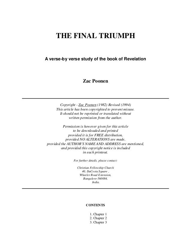 THE FINAL TRIUMPH  A verse-by verse study of the book of Revelation  Zac Poonen  Copyright - Zac Poonen (1982) Revised (19...