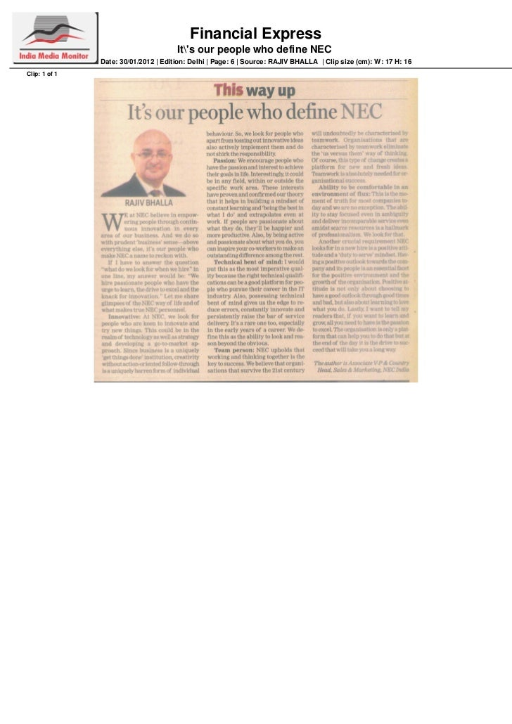 Financial Express                                      Its our people who define NEC               Date: 30/01/2012   Edit...