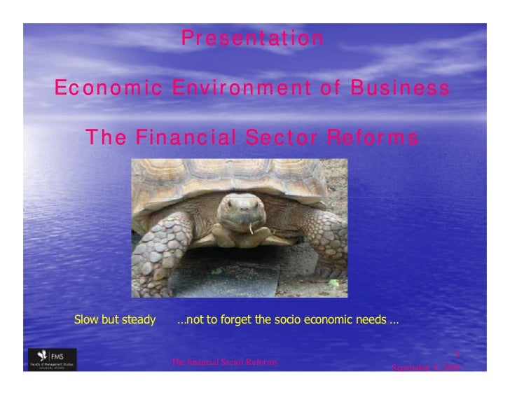 Presentation  Economic Environment of Business     The Financial Sector Reforms      Slow but steady    …not to forget the...