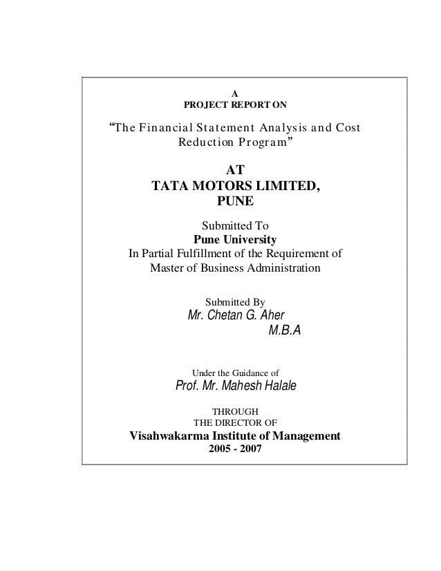 financial statement analysis of tata motors The financial condition of tata motors between 2008 and 2012 is undertaken  profitability ratios  for this, the analysis of financial statements is necessary  ratio.