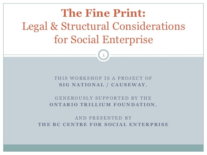 The Fine Print:  Legal and Structural Considerations for Social Enterprise