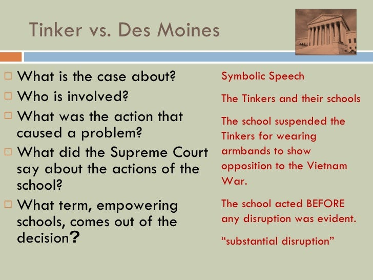 the symbolic speech of the tinkers in the tinker v des moines case Tinker et al v des moines  , this case does not concern speech or  the court concludes that the wearing of armbands is symbolic speech which.