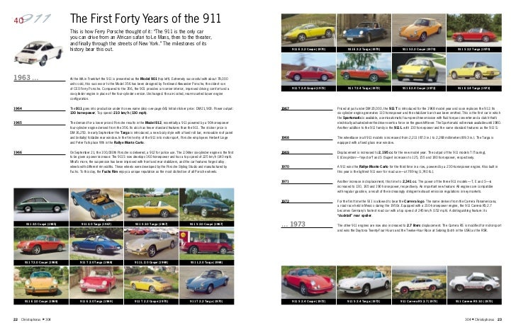 """The First Forty Years of the 911                                This is how Ferry Porsche thought of it: """"The 911 is the o..."""