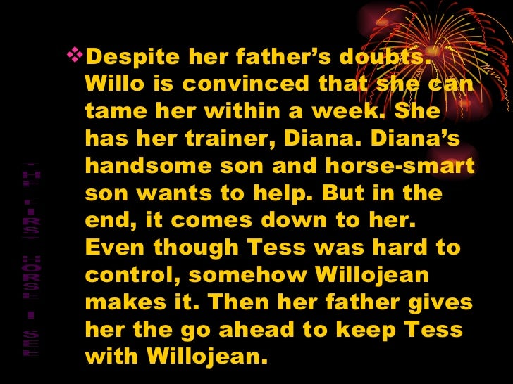 <ul><li>Despite her father's doubts. Willo is convinced that she can tame her within a week. She has her trainer, Diana. D...