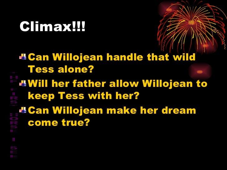 Climax!!! <ul><li>Can Willojean handle that wild Tess alone? </li></ul><ul><li>Will her father allow Willojean to keep Tes...