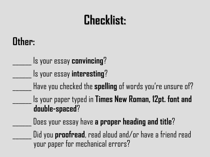The Ultimate Essay Checklist