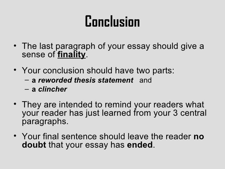 the last paragraph of an essay