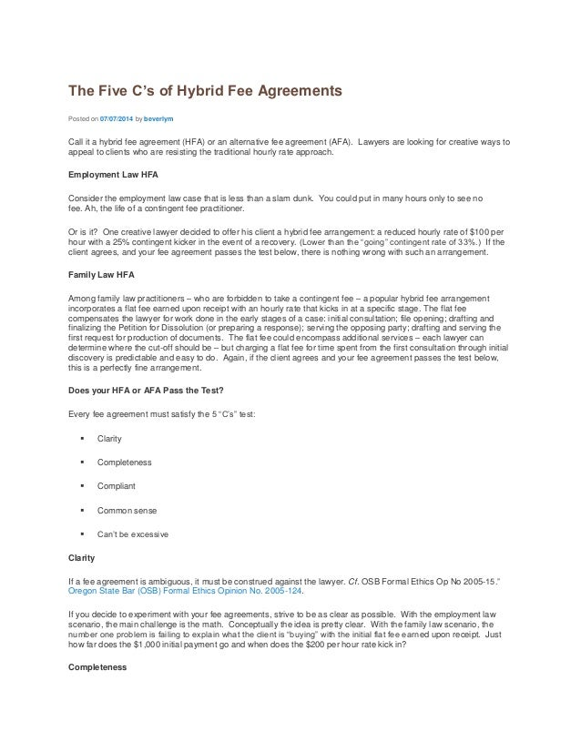 the five cs of hybrid fee agreements