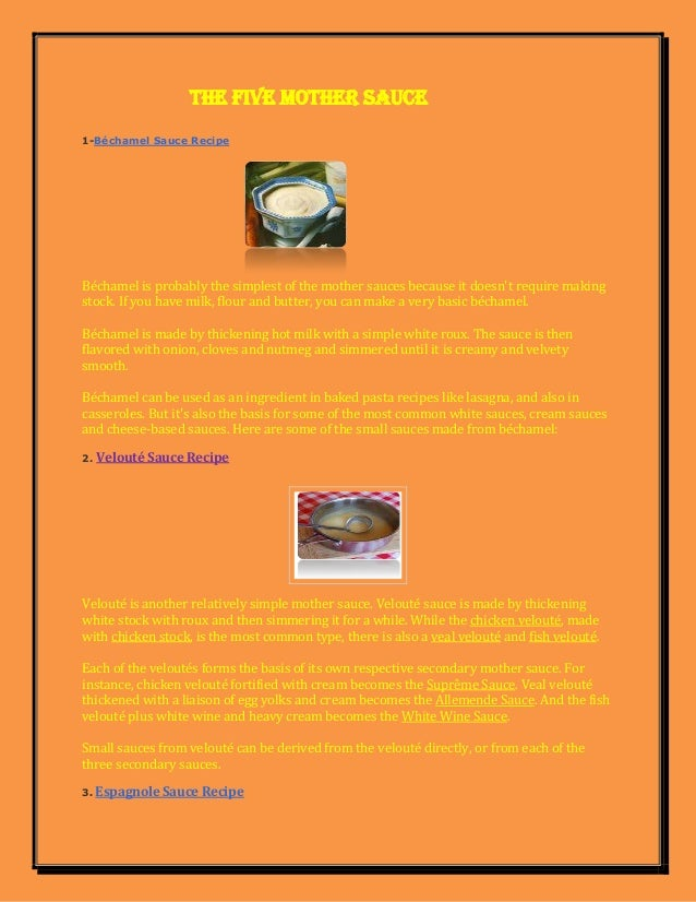 mother sauces and derivatives pdf