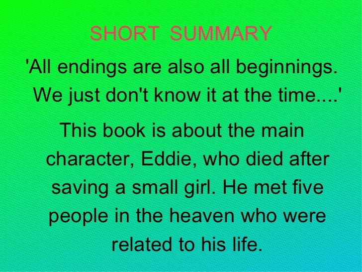 synopsis of the five people you meet in heaven
