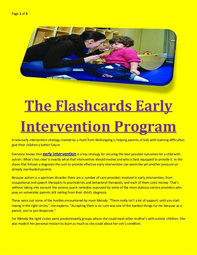 Early Autism Diagnosis Key To Effective >> The Flashcards Early Intervention Program