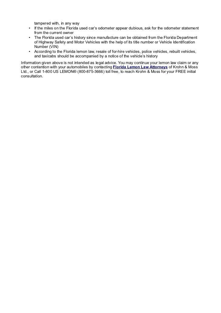 The florida lemon law or the florida motor vehicle warranty enforceme…