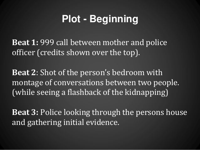 Plot - Beginning  Beat 1: 999 call between mother and police  officer (credits shown over the top).  Beat 2: Shot of the p...