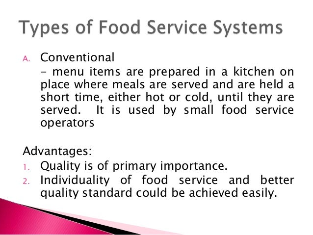 Ready Prepared Food Service System Definition