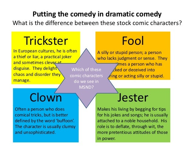 Putting the comedy in dramatic comedyWhat is the difference between these stock comic characters?     Trickster           ...