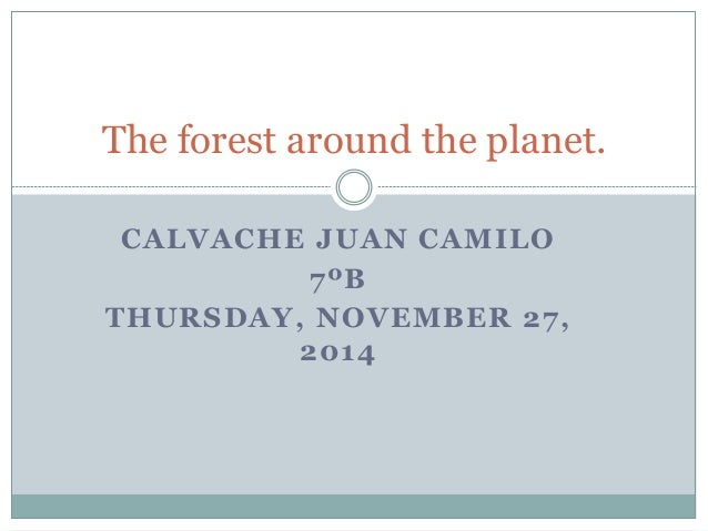 The forest around the planet.  CALVACHE JUAN CAMILO  7ºB  THURSDAY, NOVEMBER 27,  2014