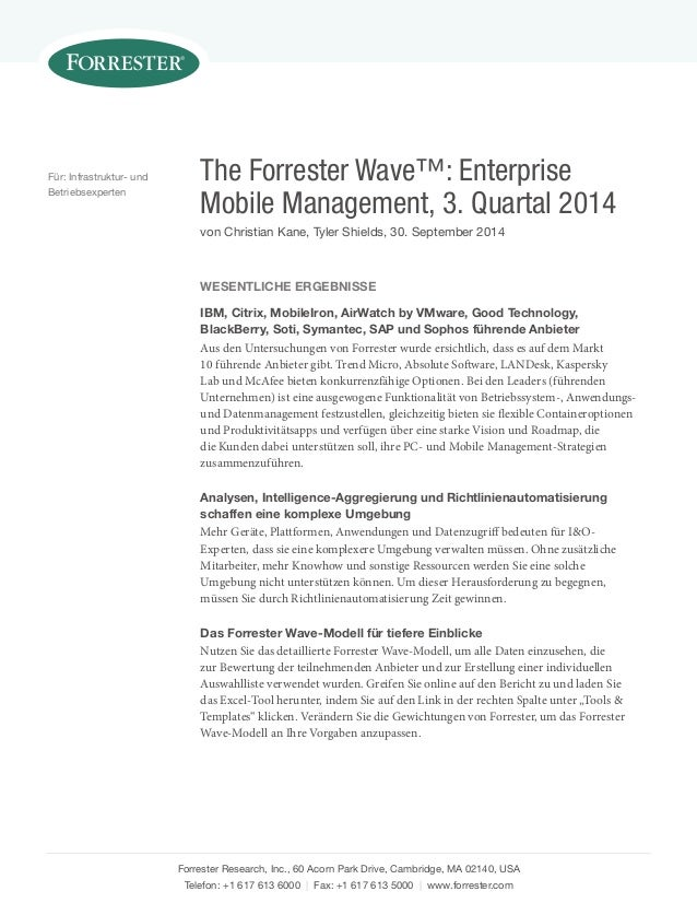 The Forrester Wave™: Enterprise Mobile Management, 3. Quartal 2014