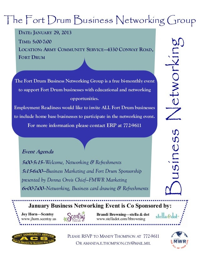 The Fort Drum Business Networking Group    DATE: JANUARY 29, 2013                                                         ...