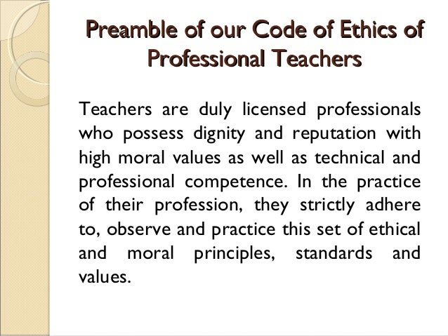 Morality and ethics on teachers