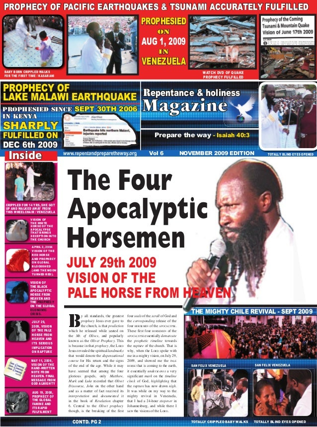 1 PROPHECY OF PACIFIC EARTHQUAKES & TSUNAMI ACCURATELY FULFILLED Repentance & Holiness Magazine  PROPHESIED on  AUG 1, 200...