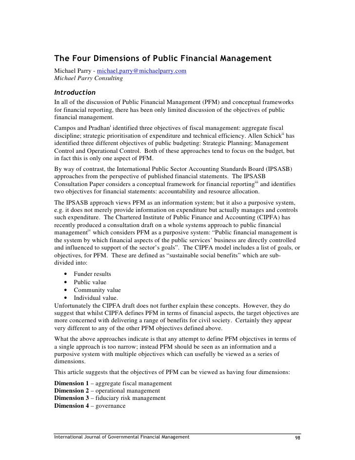 The Four Dimensions of Public Financial Management Michael Parry - michael.parry@michaelparry.com Michael Parry Consulting...