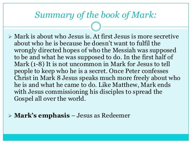 Book of mark summary