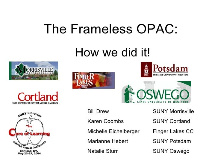 The Frameless OPAC: How we did it! Bill Drew  SUNY Morrisville Karen Coombs  SUNY Cortland Michelle Eichelberger  Finger L...