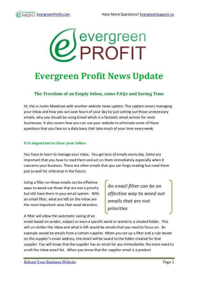 EvergreenProfit.com                        Have More Questions? EvergreenSupport.co      Evergreen Profit News Update     ...