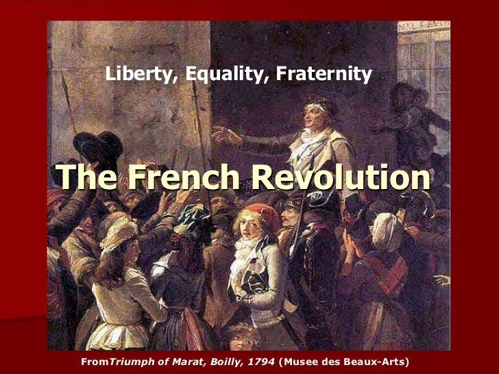 Liberty, Equality, FraternityThe French Revolution FromTriumph of Marat, Boilly, 1794 (Musee des Beaux-Arts)