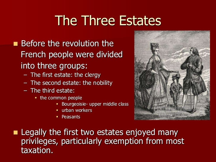 the three estates in which the frances people were divided into during the french revolution in the  The french revolution and the creation of the  causes of the french revolution during the  land had become divided into such small parcels that.
