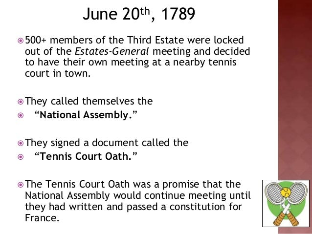the events leading to the creation of the tennis court oath Using timetoast we will construct timelines of the events leading to the french revolution through the tennis court oath: it led to the creation of the.