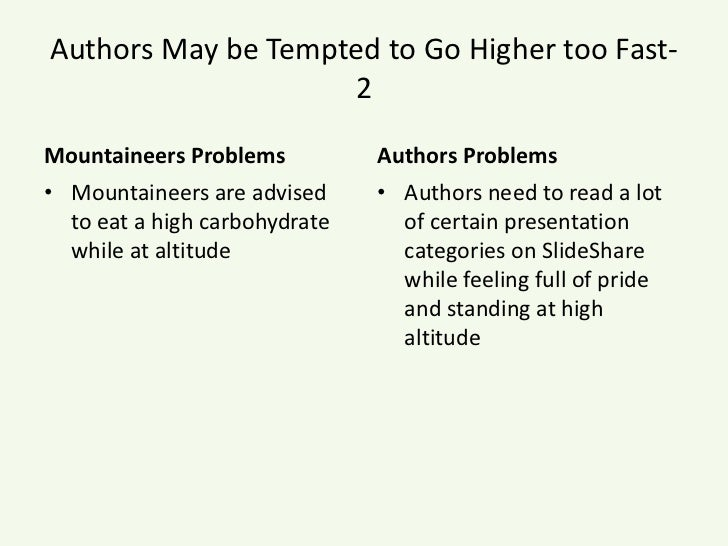 Authors May be Tempted to Go Higher too Fast- 2<br />Mountaineers Problems<br />Mountaineers are advised to eat a high car...