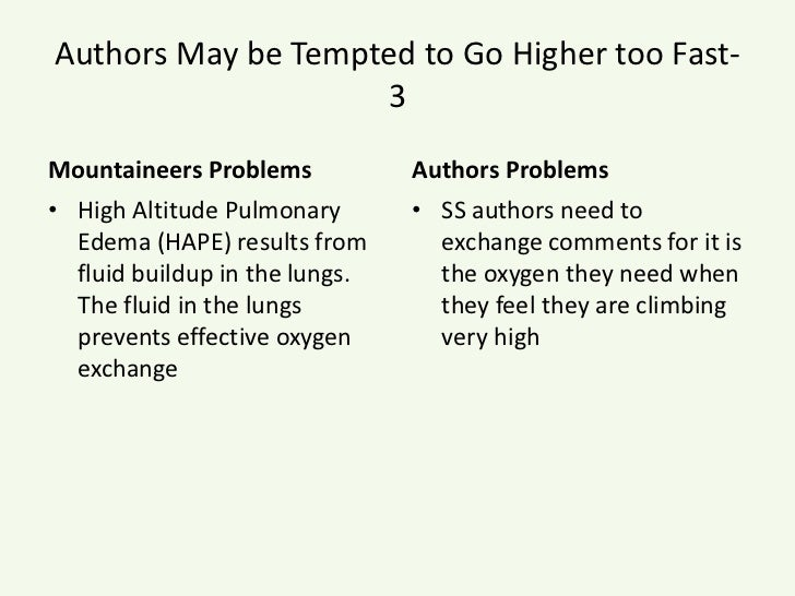 Authors May be Tempted to Go Higher too Fast- 3<br />Mountaineers Problems<br />High Altitude Pulmonary Edema (HAPE) resul...